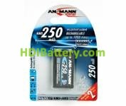 Batería recargable 9V MI-MH ANSMANN 6F22/9V